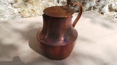 Antique French Solid Copper Hot Water Jug Pitcher Coquemar Teapot Jug Pitcher Hand Made Copper Pot Pan by CopperAntiquity on Etsy