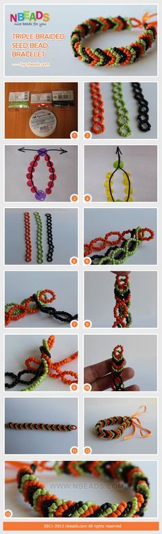 Triple braided seed bead bracelet