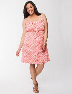 Full Figure Ruffled Chiffon Dress by Lane Bryant | Lane Bryant