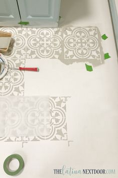 Upgrade the look of your ugly linoleum with the use of paint. In this tutorial I show you how to paint linoleum floors to look like cement tile! Stencils, Stencil Vinyl, Painting Linoleum Floors, Painted Floors, Bathroom Flooring, Kitchen Flooring, Bathroom Cabinets, Plywood Kitchen, Kitchen Tiles