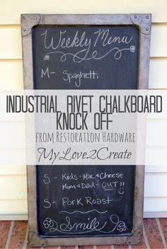Restoration Hardware Industrial Rivet Chalkboard Knock Off