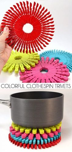 Dollar Store Crafts - Colorful Clothespin Trivets - Best Cheap DIY Dollar Store Craft Ideas for Kids, Teen, Adults, Gifts and For Home - Christmas Gift Ideas, Jewelry, Easy Decorations. Crafts to Make and Sell and Organization Projects http://diyjoy.com/dollar-store-crafts #craftdiy #diyjewelrymaking #christmascraftsforkids