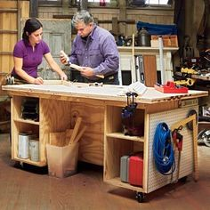 Workshop Tool Bench Need a little help organizing tools for DIY projects? Here is a plan for a size-it-to-your-space tool-storage bench that doubles as a work surface. Though it may look complicated, the construction couldnt be simpler.