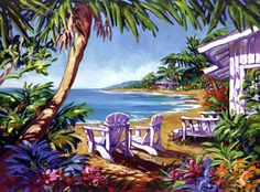 Steve Barton, Island Hideaway My retirement home! Seascape Paintings, Easy Paintings, Tropical Paintings, Canvas Paintings, Internet Art, Hawaiian Art, Caribbean Art, Tropical Art, Beach Art
