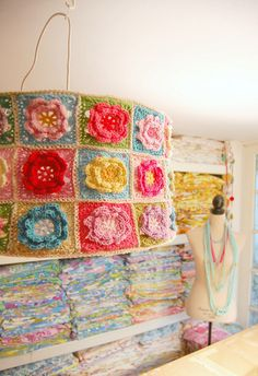 a crocheted lampshade... by rose hip..., via Flickr