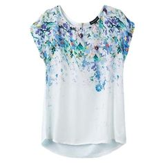 White Short Sleeve Blue Flora Print Back Zip Blouse ($12) ❤ liked on Polyvore featuring tops, blouses, white short sleeve shirt, blue shirt, print blouse, shirts & blouses and blue white shirt