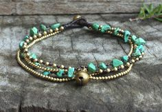 Green Turquoise Brass Chain Anklet by brasslady on Etsy, $9.00