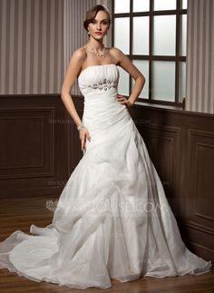 Wedding Dresses - $172.99 - A-Line/Princess Strapless Chapel Train Organza Satin Wedding Dress With Ruffle Beadwork (002011798) http://jjshouse.com/A-Line-Princess-Strapless-Chapel-Train-Organza-Satin-Wedding-Dress-With-Ruffle-Beadwork-002011798-g11798?ver=xdegc7h0