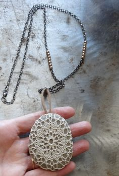 Crocheted Lace Stone Necklace Handmade Smooth Stone by Monicaj