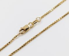 14kt Yellow Gold Box Chain 0.7 mm Width 14 Inch Long (1.6 Grams) by RG&D..|||| #14kt #gold #chain #jewelry #metal #goldchain #whitegold #yellowgold #mens #women #his #her #style #fashion #online #shopping #chains #goldchains #follow #pinterest #richmondgoldanddiamond