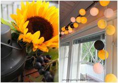 Auringonkukat ja valko-kelta-musta-pallovalot