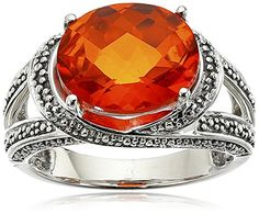 Sterling Silver Polished 8x10 Celestial Fire Quartz Ring Size 7 * Click image for more details.