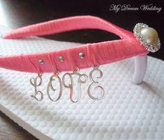 Peach Flip Flops. Pink-Orange-Peach L-o-v-e Letters peach Bridal Flip Flops with Swarovski Crystals -L-O-V-E