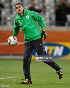 Lounes Gaouaoui warms up during the Algeria Training session at the Green Point Stadium on June 17 2010 in Cape Town South Africa