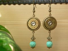 Bullet Jewelry 44 Special Remington Bullet Casing Earrings Turquoise Glass Beads
