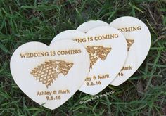 Game of Thrones inspired wedding Save the date cards wood