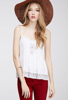 Lace-Ruffled Crochet Cami   Forever 21 - 2000115536