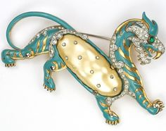 Trifari 'Alfred Philippe' Turquoise Enamel and Pearl Belly Ming Tiger Pin