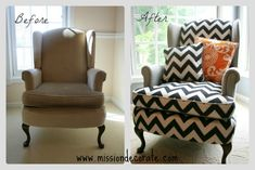 reupholstered wing back.  from sad to beautiful!