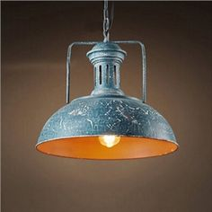 (EU Lager)Rustikal Pendelleuchte Kuppel Design Blau 1-Flammig