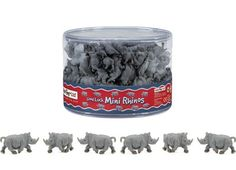 Mini Rhinos (1 Rhino) at theBIGzoo.com. Perfect for cupcake toppers, DIY crafts, cake decorations, table confetti, party favors, etc.