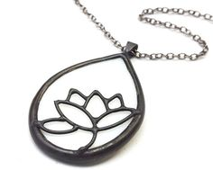 Lotus stained glass necklace 1450 by LingGlass on Etsy