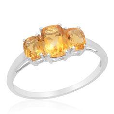 Sz 7 - Genuine Citrine 3 Stone Ring $33.95 | KarmicBazaar - Jewelry on ArtFire
