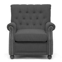 Baxton Studio Moretti Dark Grey Linen Modern Club Chair