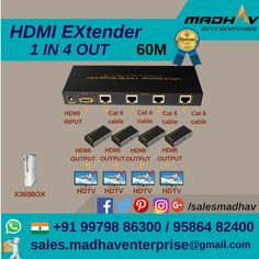 #HDMI #Extender #1In #4Out available in #60M at #MadhavEnterprise #Surat #South #Gujarat #India at #bestrate #Wholesaler #supplier