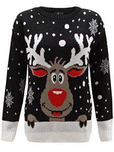 Envy Boutique – Sweat Unisexe Homme Femme Flocon de Neige Rodolphe Noël