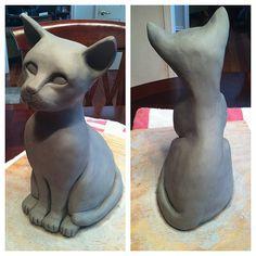 clay cat sculpture
