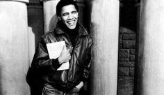Barack Obam : A young Obama rocking a sweet leather jacket