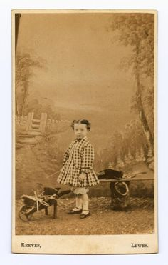 Unidentified child with a small wheelbarrow ca. 1850s
