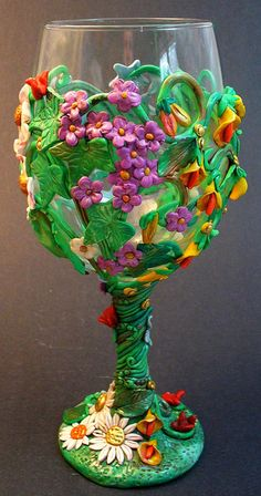 Look at the detail!  She does amazing work!!!!!   Spring Wine Glass by katydidkat, via Flickr