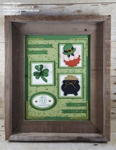 Feeling so blessed I received this adorable St. Patrick's Day Art Sampler in the mail from a long time stamping friend, Mary Polcin from Shawano, Wisconsin. Mary has the sweetest heart, and if it were not for Stampin' Up! Collage Frames, Collages, Saint Patricks Day Art, Valentines Frames, Paddys Day, Shadow Box, Crates, Framed Art, Stampin Up