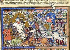 """The Israelites are repulsed from Hai"" (fol. 10r), ~1250, Maciejowski Bible, aka Morgan or Crusader Bible"