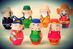 The Seven Japanese Lucky Gods Paper Toys - by Kizuna Avenue