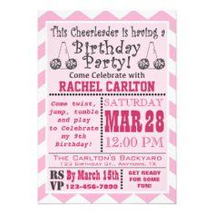 A Pink Cheerleading Birthday Party Invitation