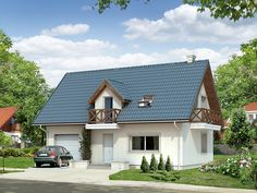 Mały dom jednorodzinny z użytkowym poddaszem i garażem w bryle budynku. I Home Fashion, Exterior Design, Interior Inspiration, Cabin, Country, House Styles, Home Decor, Projects, Rural Area