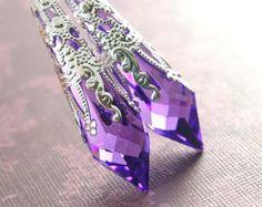 Purple Crystal Earrings Sterling Silver Swarovski Violet Purple Earrings Long Dangle Drop Earrings Crystal Amethyst Earrings