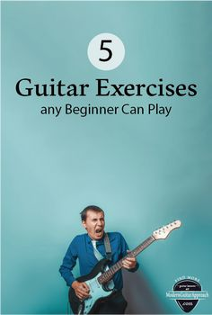 These five beginner guitar exercises will help you learn the guitar faster and are easy enough for any beginner to play. Learn Guitar Beginner, Learn Guitar Chords, Guitar Chords Beginner, Easy Guitar Songs, Learn To Play Guitar, Music Guitar, Playing Guitar, Learning Guitar, Guitar Tips