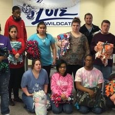 The power of giving: transition students from Lutz School helping change the world for our warriors at the hospital! #fleeceandthankyou #comfort #blanket #students #give