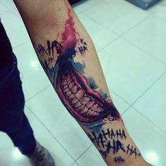 Here s an awesome Joker smile tattoo by creatattoo A very unique piece J Tattoo, Comic Tattoo, Batman Tattoo, Sick Tattoo, Dog Tattoos, Body Art Tattoos, Sleeve Tattoos, Tatoos, Harley Y Joker