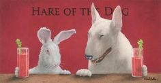Hare Of The Dog.the Bull Terrier. Painting by Will Bullas - Hare Of The Dog.the Bull Terrier. Fine Art Prints and Posters for Sale British Bull Terrier, English Bull Terriers, Rabbit Art, Bunny Rabbit, Thing 1, Bully Dog, Bunny Art, Simple Prints, Sale Poster