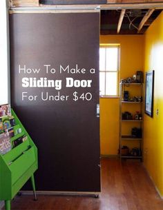 I like sliding doors but none of my doors are actually wide enough for one. If you have wade doors and would like to add a sliding door Apartment therapy Home Improvement, Decor, Diy Sliding Door, Diy Home Decor, Interior, Home Diy, Sliding Doors, Home Decor, Home Projects