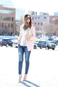 Blush Blazer + Lace Top