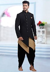 Buy Black Jacquard Indowestern Sherwani online, SKU Code: This Black color indowestern sherwani for Men comes with Jacquard Art Silk. Shop Now! Mens Indian Wear, Mens Ethnic Wear, Indian Groom Wear, Indian Men Fashion, Mens Fashion Wear, Suit Fashion, Fashion For Men, Mens Wedding Wear Indian, Groom Fashion