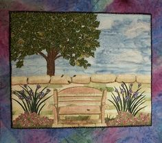 Bench Garden Art Quilt- 17x13- Stones and Walls Series