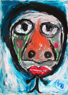 """""""Altramuces"""" de Victoria Barranco @ VirtualGallery.com Pintura acrílica sobre cartón de 50x70 cm (19.7x27.6 in). Arte marginal. Niño llorando. (2015)-"""