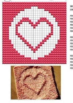 Heart Knit Dish cloths Pattern Knitted Squares Pattern, Knitting Squares, Dishcloth Knitting Patterns, Knitting Stiches, Crochet Dishcloths, Knitting Charts, Knit Or Crochet, Free Knitting, Baby Knitting